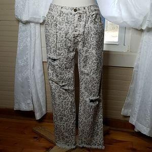Style Rack Distressed Animal Print Jean
